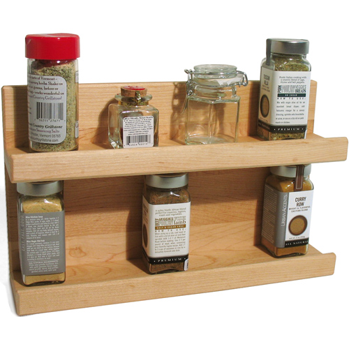 Two Tier Wooden Kitchen Spice Rack in Spice Racks