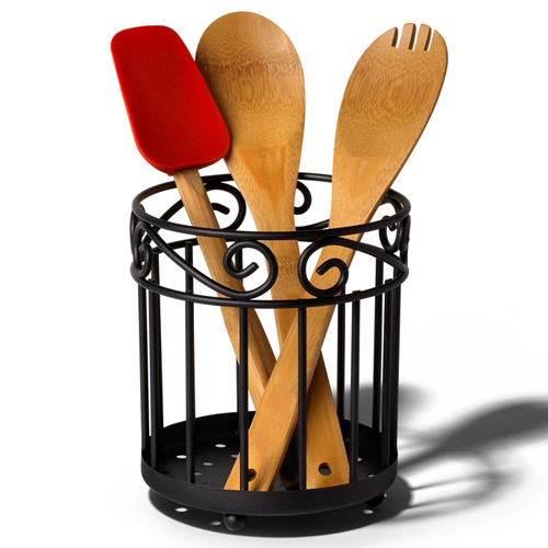 Scroll utensil caddy black in kitchen utensil holders for Kitchen utensil holder
