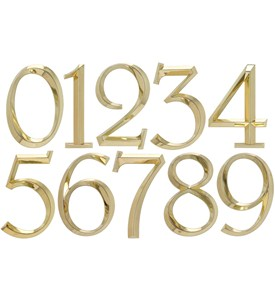 6 Inch Address Numbers - Polished Brass Image