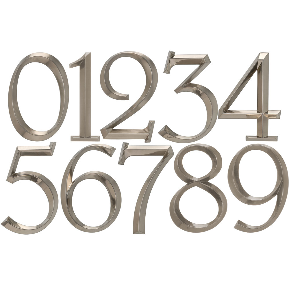 6 Inch Address Numbers Polished Nickel In House Numbers