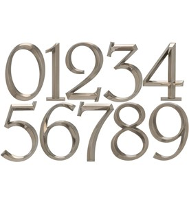 6 Inch Address Numbers - Brushed Nickel Image