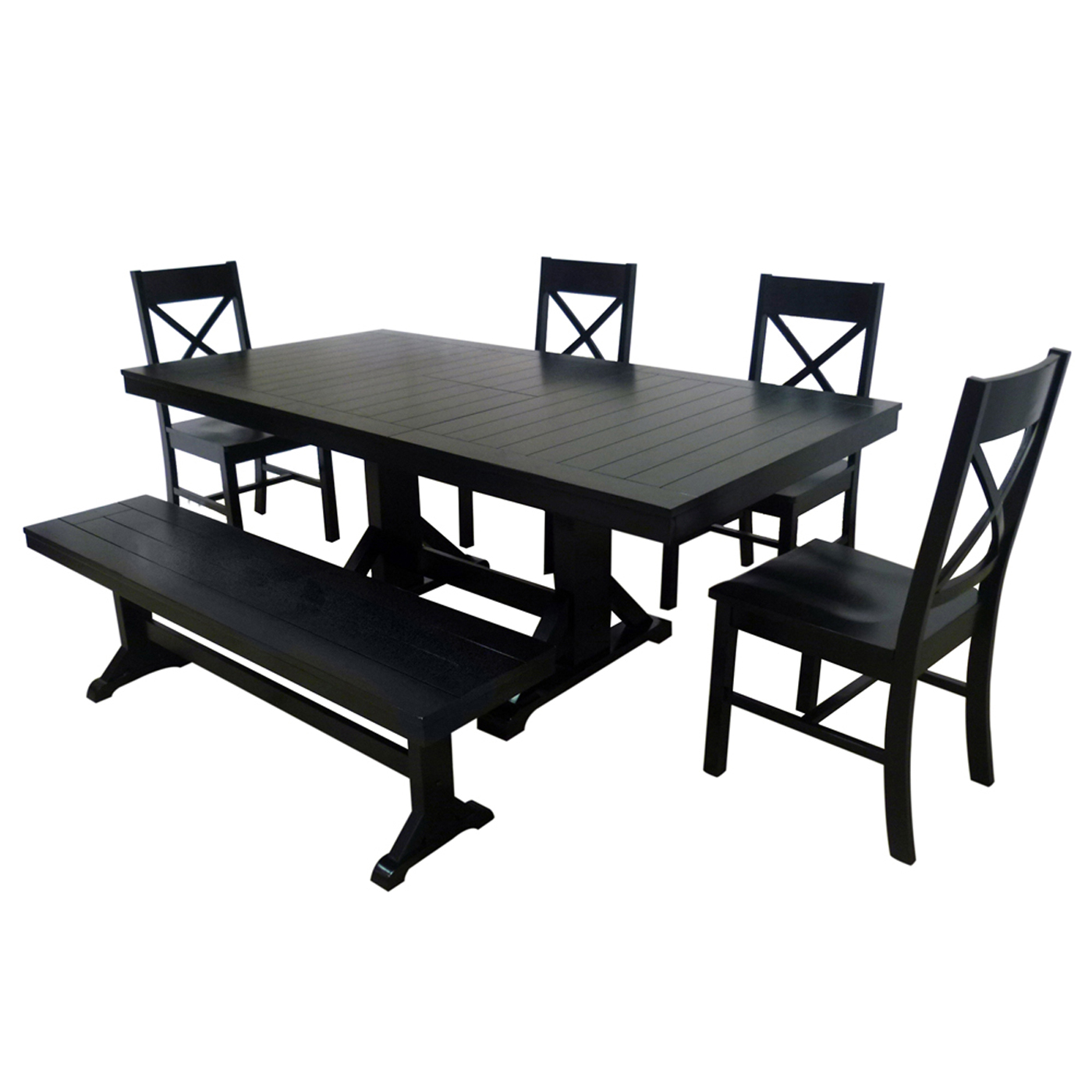 6 piece solid wood dining set by walker edison in dinette sets for Solid wood dining set