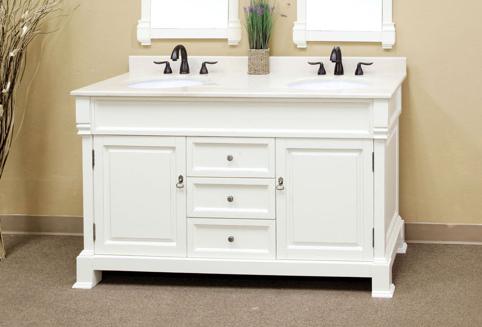 60 Inch Double Traditional Single Sink Vanity Wood By Bellaterra Home In Bathroom Vanities