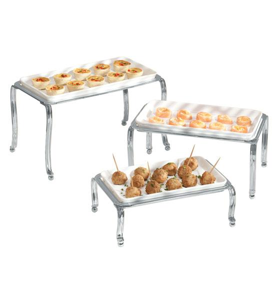 Ceramic Buffet Trays Chrome Set Of 3 In Buffet Supplies