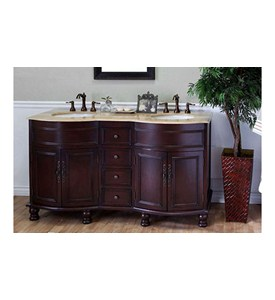 62 Inch Double Sink Traditional Wood Vanity by Bellaterra Home Image