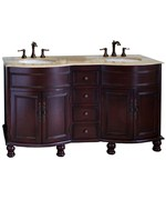 62 Inch Traditional Double Sink Wood Vanity