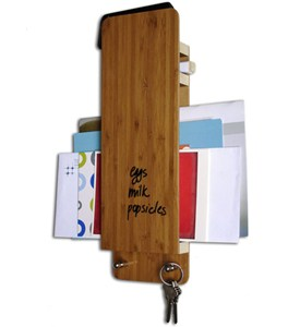 Key and Mail Organizer with Dry Erase - Bamboo Image