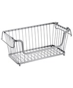 York Open Front Kitchen Basket - Silver