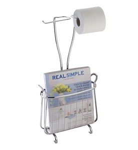 Bath Magazine Rack and Tissue Stand - Chrome Image