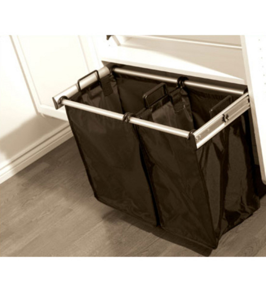 30 inch pull out double laundry hamper in custom closet accessories - High end laundry hamper ...