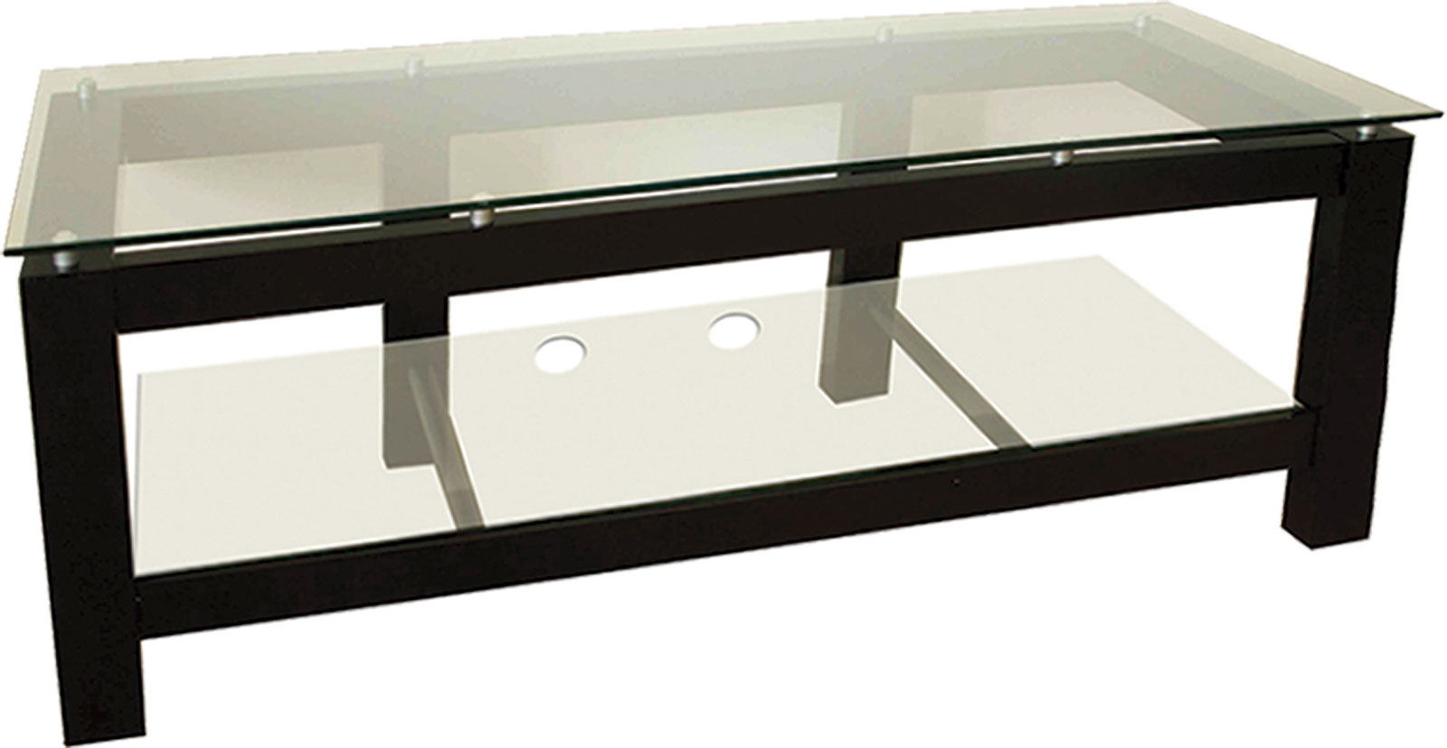 64 Inch Low Profile Flat Screen Black Tv Stand With Glass