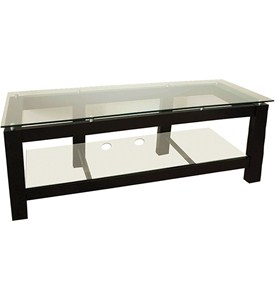 64 Inch Low Profile Flat Screen Black TV Stand with Glass Shelves Image