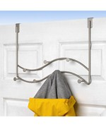 Over the Door Sweep Coat Rack - Satin Nickel