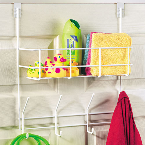 Over the Door Storage Basket and Hooks Image