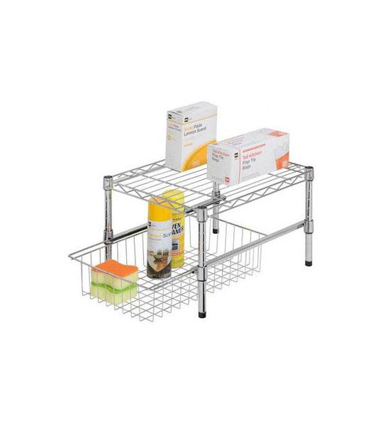 Adjustable Under Sink Cabinet Storage Counter Shelf: Under Sink Organizer