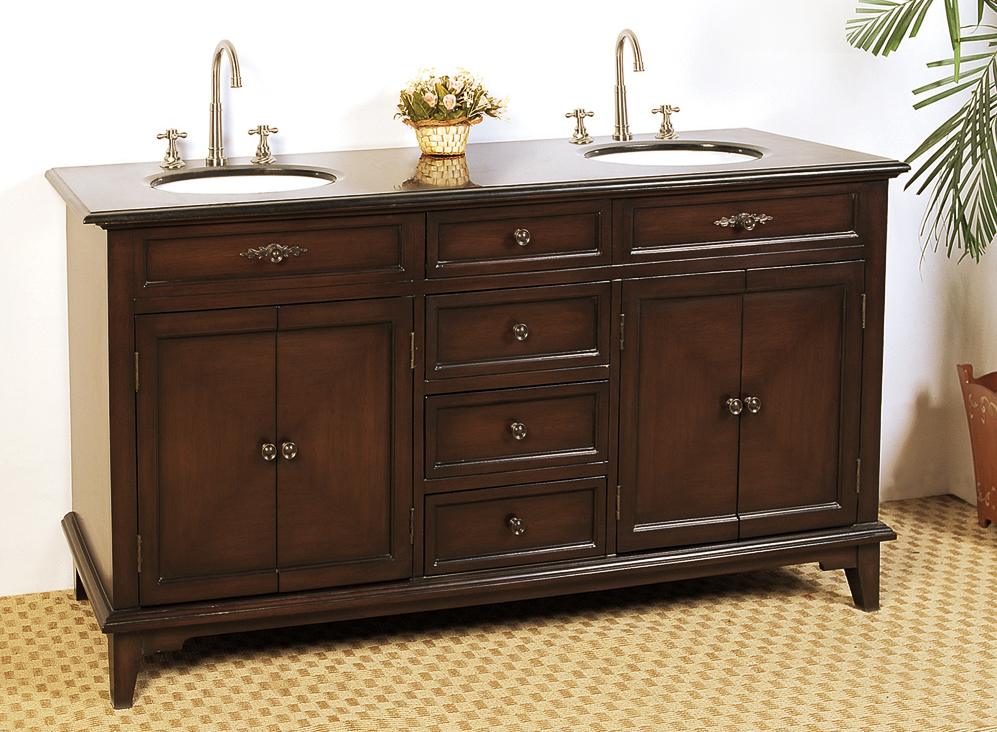 68 5 inch double sink bathroom vanity by legion in for Double basin bathroom sinks