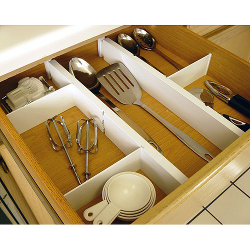 Expandable and adjustable drawer dividers kit in drawer for Kitchen drawer organizer