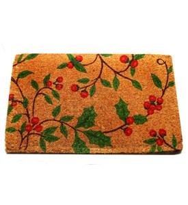 Decorative Coir Doormat - Holly Image