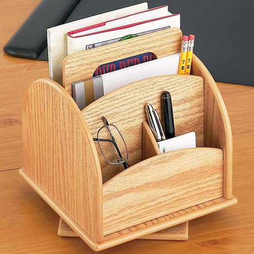 Rotating desk or remote organizer oak wood in desktop - Spinning desk organizer ...