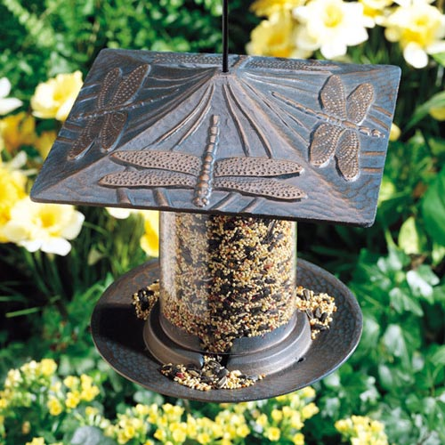 6 Inch Tube Metal Bird Feeder Dragonfly In Bird Feeders