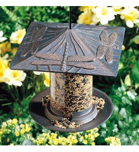 6 Inch Tube Metal Bird Feeder - Dragonfly Image