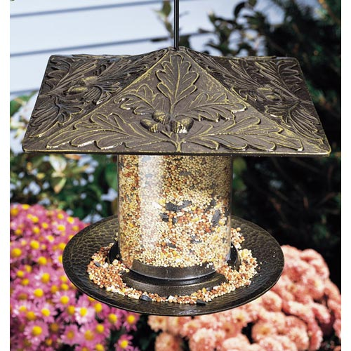 6 Inch Tube Bird Feeder - Oak Leaf Image
