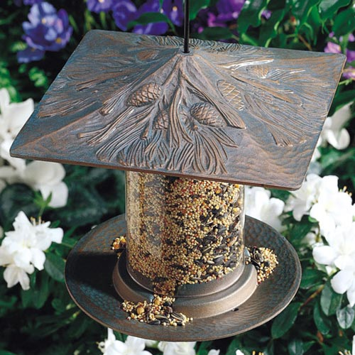 6 Inch Tube Bird Feeder - Pinecone Image