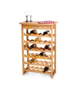 36 Bottle Wine Rack with Lacquered Top