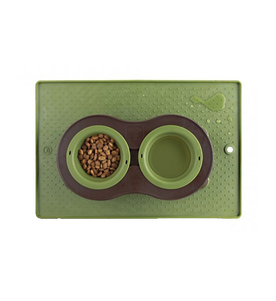 Green Spill Proof Pet Bowl Grip Mat Image