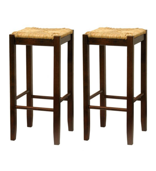 Bar Stool With Woven Seat Set Of 2 In Wood Bar Stools