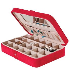 Faux Suede Travel Jewelry Case - Red Image