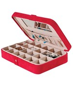 Faux Suede Travel Jewelry Case - Red