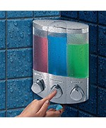 Three Compartment Corner Shower Dispenser - Chrome