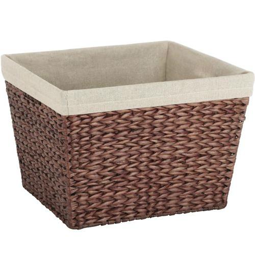 Linen Lined Storage Basket In Wicker Baskets  sc 1 st  Listitdallas & Lined Storage Baskets For Shelves - Listitdallas