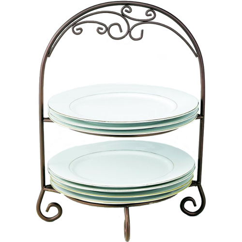 Two-Tier Wrought Iron Plate Rack Image  sc 1 st  Organize-It & Two-Tier Wrought Iron Plate Rack in Serving Dishes