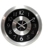 Black Wall Clock with Shiny Aluminum Accents