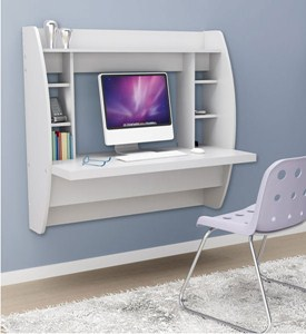 Wall Mounted Desk with Storage - White Image