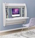 Wall Mounted Desk with Storage - White