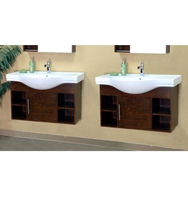 79.6 Inch Double Wall Mount Style Cubby Sink Vanity Wood by Bellaterra Home Image
