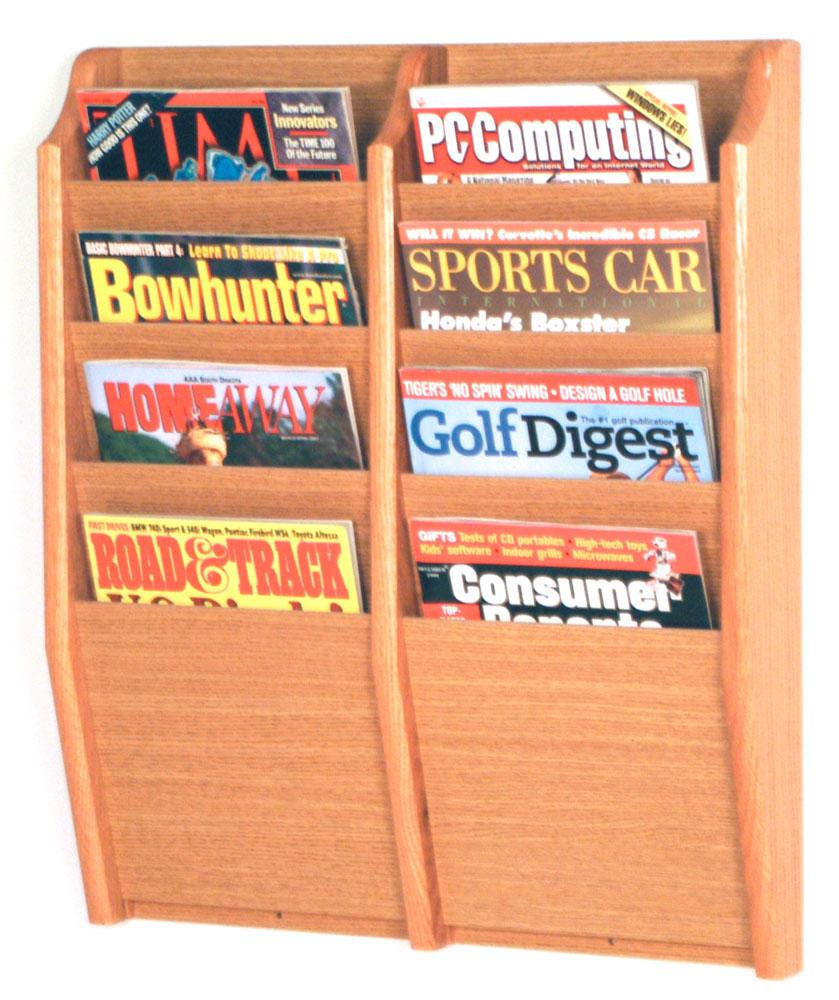 wooden magazine rack oak literature display single pocket wall mount