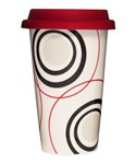8.5 Ounce Ceramic Travel Cup - Circles Design