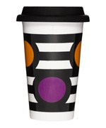 8.5 Ounce Ceramic Travel Cup - Stripes and Circles