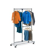 80 Inch Dual Bar Chrome Adjustable Garment Rack by Honey-Can-Do