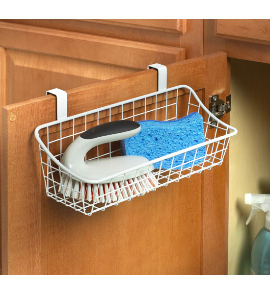 White Over The Cabinet Wire Basket in Cabinet Door Organizers – Over Cabinet Door Storage