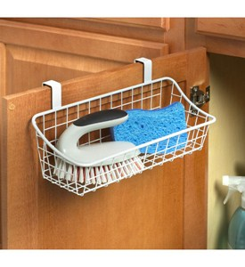 White Over The Cabinet Wire Basket Image