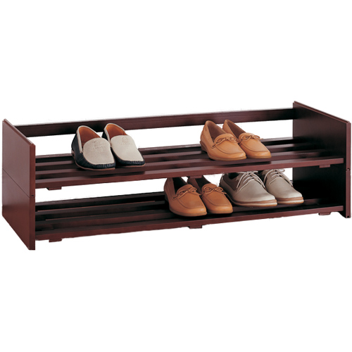 stackable wooden shoe rack image