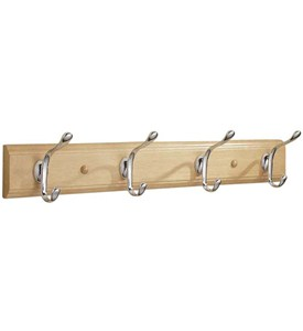 Wood Hat and Coat Hook Rack - Natural Image