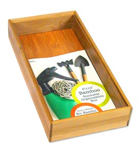 Bamboo Stackable Organization Box - 6x12 Inch Image