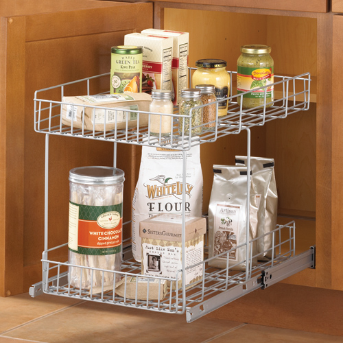 Kitchen Cabinet Pull Out Organizers slide-out cabinet organizer basket - silver in pull out baskets