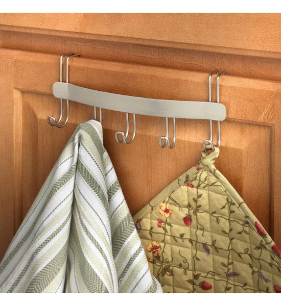 Over the Cabinet Door Towel Holder in Kitchen Towel Holders